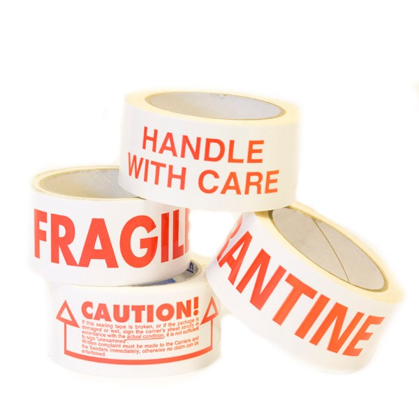 HANDLE WITH CARE PRINTED WHITE VINYL PACKING TAPE 50MM X 66M ROLL