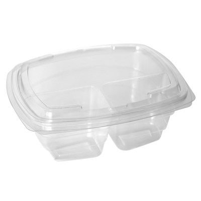 3 COMPARTMENT 675CC PLASTIC SALAD CONTAINER WITH HINGED LID