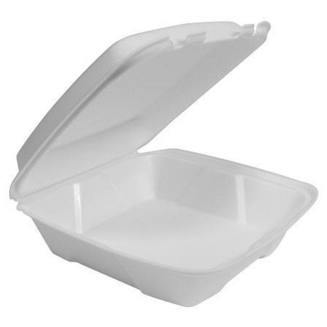 HP4/1 WHITE 1 COMPARTMENT POLSTYRENE FOAM MEAL BOXES