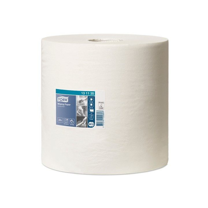TORK WIPING PAPER W1  W2 WHITE COMBI ROLL 1150 SHEETS