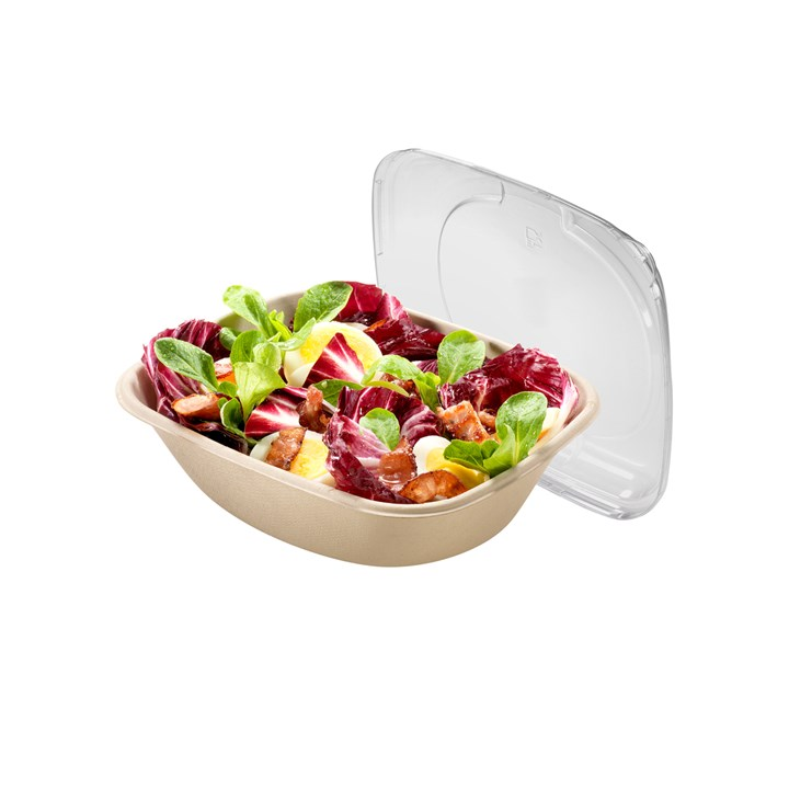 NATURESSE SUGARCANE COMPOSTABLE DISPOSABLE BOWL RECTANGULAR 900ML UNBLEACHED 25GR