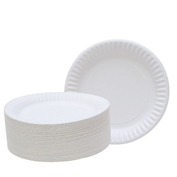 9 INCH DISPOSABLE WHITE PAPER PLATES