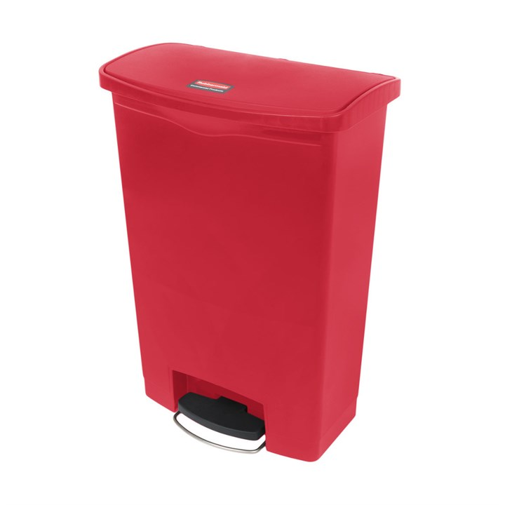 RUBBERMAID RED 90L SLIM JIM FRONT STEP ON BIN