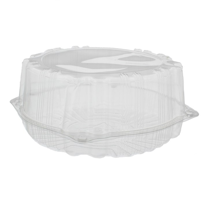 CLEAR PLASTIC ROUND HINGED LID CAKE CONTAINER 235 X 100MM