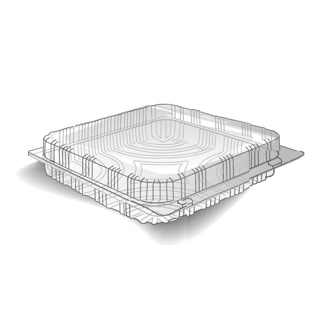 CLEAR PLASTIC HINGED PASTRY CONTAINER 200 X 200 X 100MM
