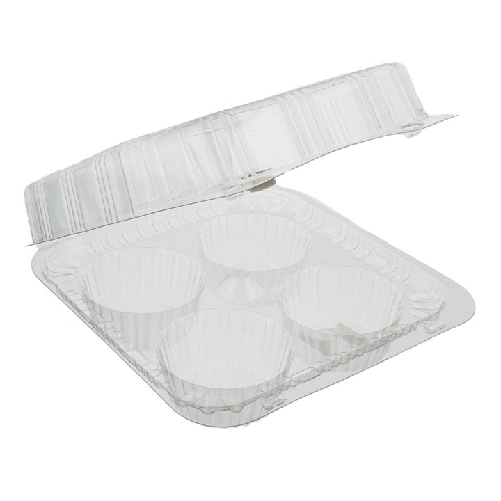 CLEAR PLASTIC 4 COMPARTMENT MUFFIN CONTAINER 200 X 190 X 75MM
