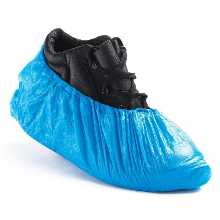 14 INCH BLUE DISPOSABLE PE OVERSHOES