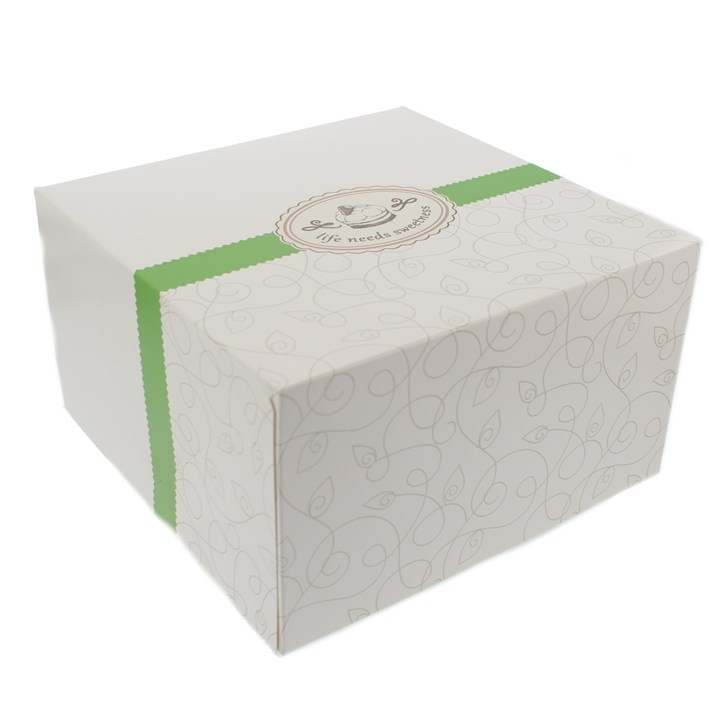White Printed Cake Box 9.25 x 9.25 x 5.3 Inchs