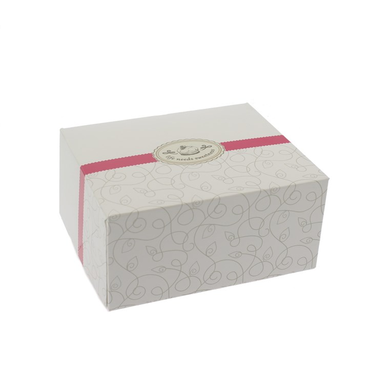 WHITE PRINTED CAKE BOX 6.3 X 5.5 X 3.15 INCHS