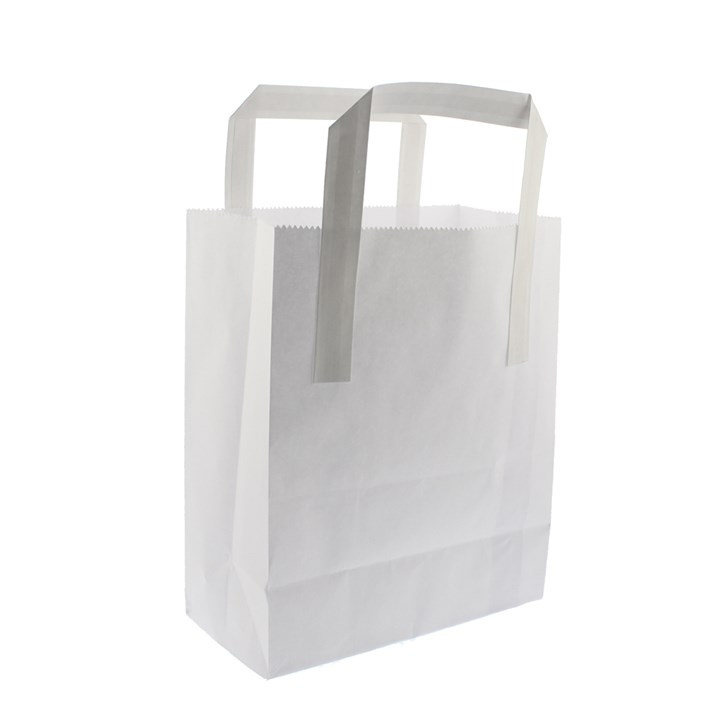 WHITE KRAFT PAPER CARRIER BAGS 10 + 5 x 12  INCH OUTER HANDLES