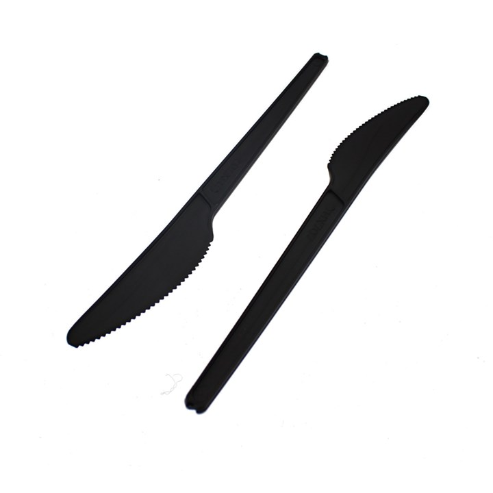 LEAF CPLA COMPOSTABLE DISPOSABLE KNIVES BLACK