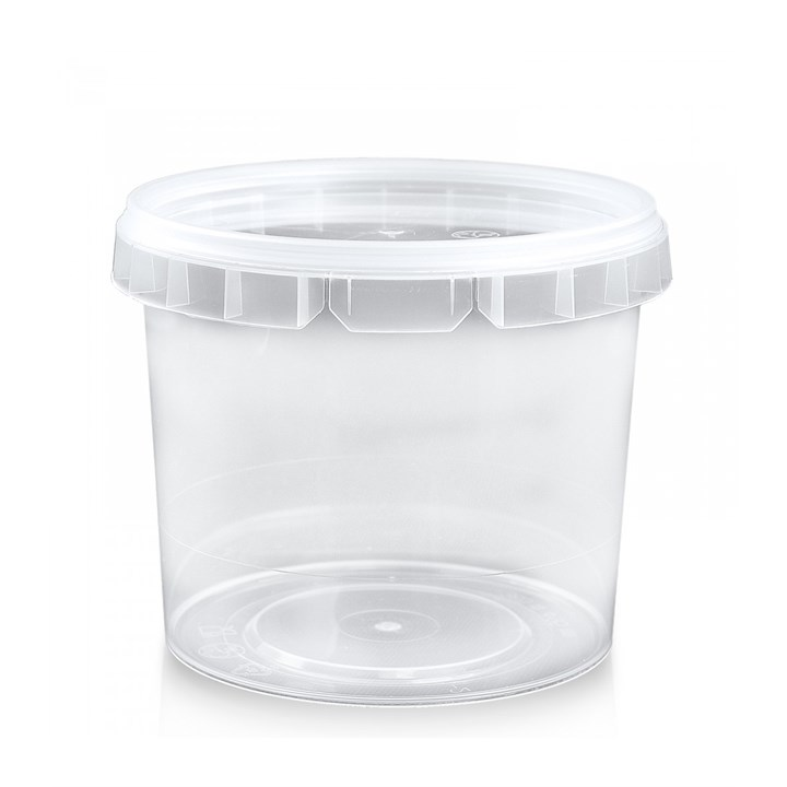 365ML CLEAR PLASTIC RING LOCK CONTAINER & LID