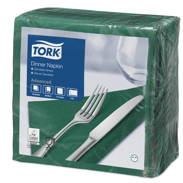 TORK DARK GREEN DINNER NAPKIN 4 FOLD 2PLY 39 X 39CM