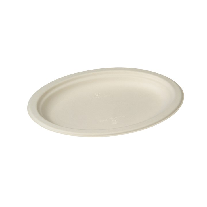 NATURESSE SUGARCANE COMPOSTABLE DISPOSABLE PLATE OVAL 26 X 19.5CM
