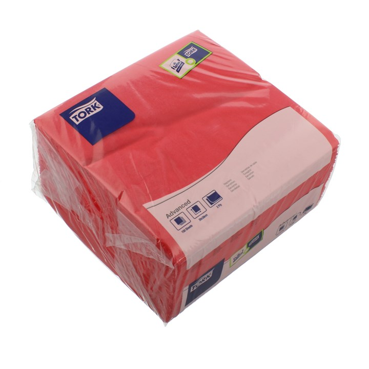TORK RED DINNER NAPKINS 4 FOLD 2PLY 39 X 39CM