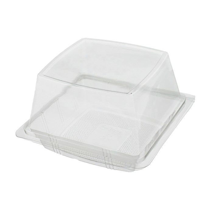 DEEP SINGLE CRUSTY ROLL BAGEL CLEAR PLASTIC CONTAINER WITH HINGED LID