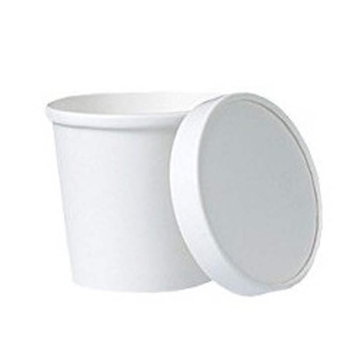 12OZ WHITE SOUP CURRY FOOD CUP & LID COMBO