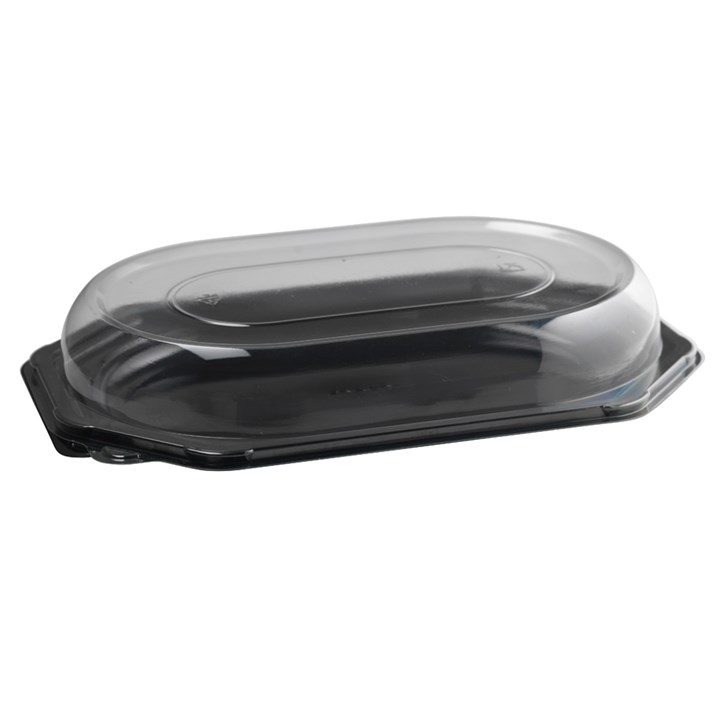 SABERT PLATTER & LID  BLACK BASE AND CLEAR DOMED LID COMBO