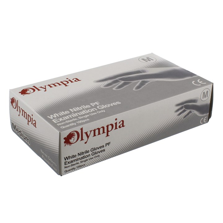 OLYMPIA WHITE NITRILE POWDER FREE GLOVES MEDIUM