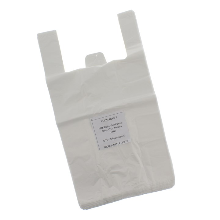 WHITE PLASTIC CARRIER BAGS 280+135 X 505MM
