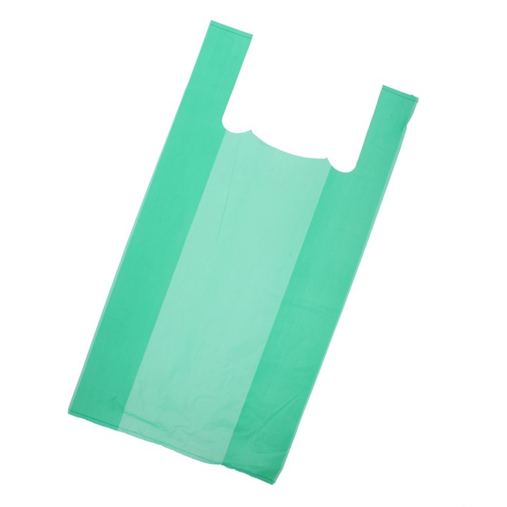 GREEN PLASTIC CARRIER BAGS 300 + 150 X 580MM 16MU