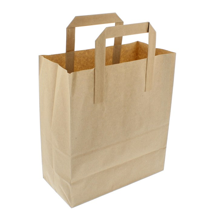 BROWN KRAFT PAPER CARRIER BAGS 7 + 4 X 9 INCH OUTER HANDLES