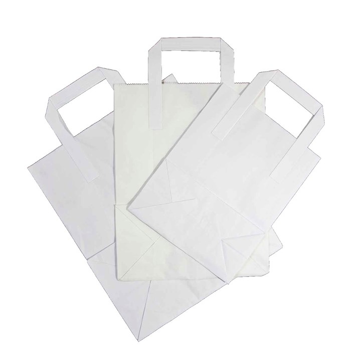 WHITE KRAFT PAPER CARRIER BAGS 7 + 4 X 9 INCH OUTER HANDLES