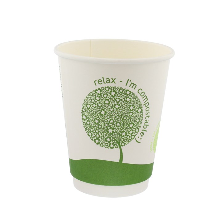 8Oz Leaf Compostable Single Wall Coffee Cups