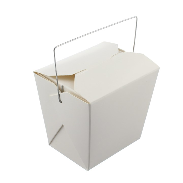 16OZ WHITE KRAFT PAPER RICE PAIL BOX WITH WIRE HANDLE