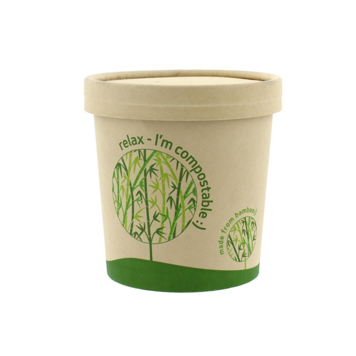 LEAF 16OZ BAMBOO COMPOSTABLE SOUP CUP & LID COMBO