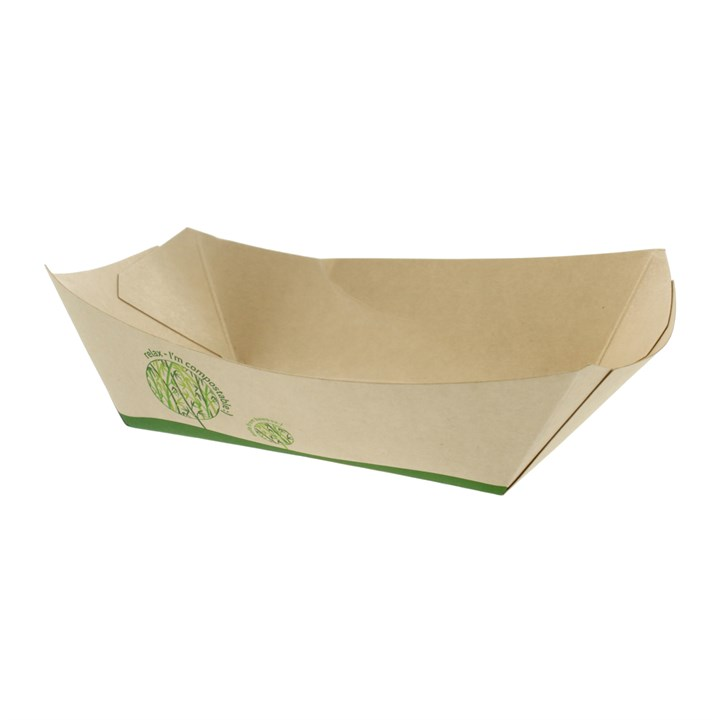LEAFWARE 2.5LB COMPOSTABLE BAMBOO PAPER FOOD TRAY