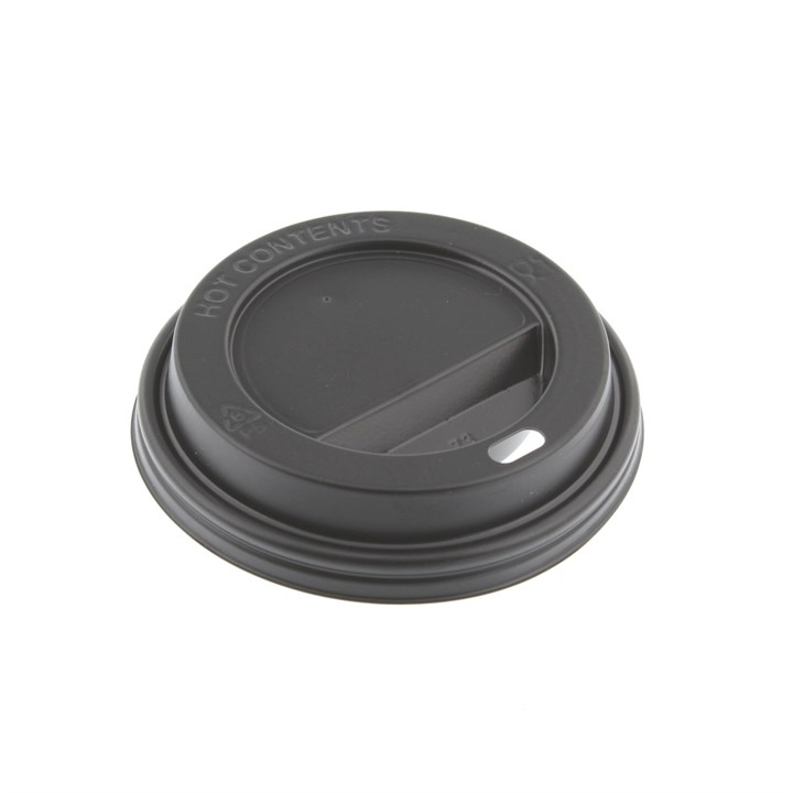 12/16OZ BLACK COMPOSTABLE PLA HOT COFFEE CUP LIDS