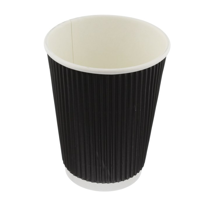 BLACK RIPPLE WALL DISPOSABLE COFFEE CUPS