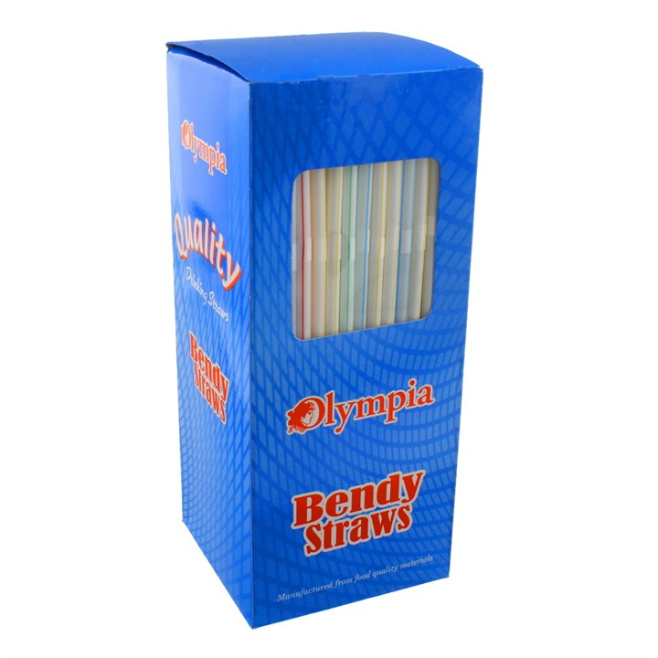 OLYMPIA STRIPED PLASTIC FLEXIBLE BENDY DRINKING STRAWS