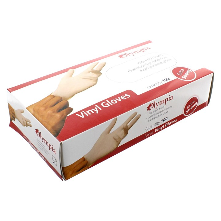 OLYMPIA CLEAR POLY POWDERED DISPOSABLE GLOVES MEDIUM