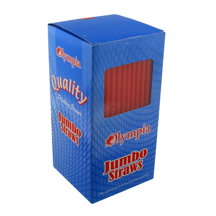 OLYMPIA JUMBO STRAIGHT RED PLASTIC DRINKING STRAWS