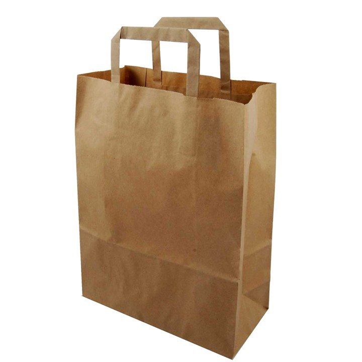 BROWN KRAFT PAPER CARRIER BAGS 10.25 X 15.5 X 12 INCH INNER HANDLES