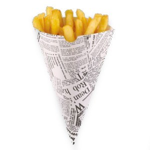DISPOSABLE NEWSPAPER PRINT CHIPS CONE 182 X 182MM