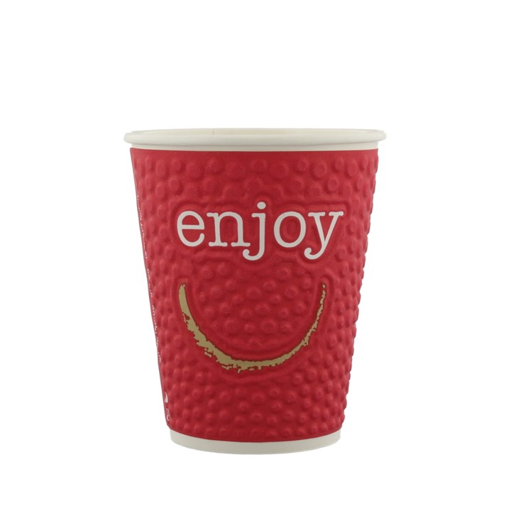 16OZ ENJOY EMBOSSED DOUBLE WALL DISPOSABLE COFFEE CUP IN VARIOUS COLOURS