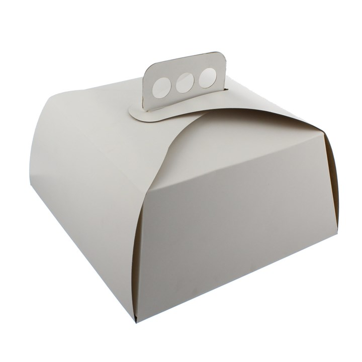 WHITE GOURMET CAKE BOX WITH HANDLE 9 X 9 X 4.5 INCH