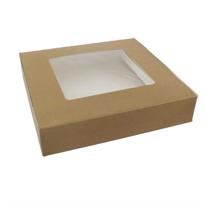 BROWN KRAFT TART BOX WITH WINDOW HINGED 9.5 X 2 INCH