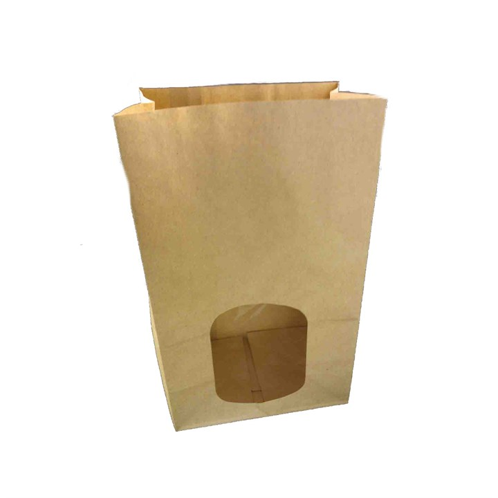 BROWN KRAFT PAPER BAG WITH WINDOW 6 X 4 X 10 INCH