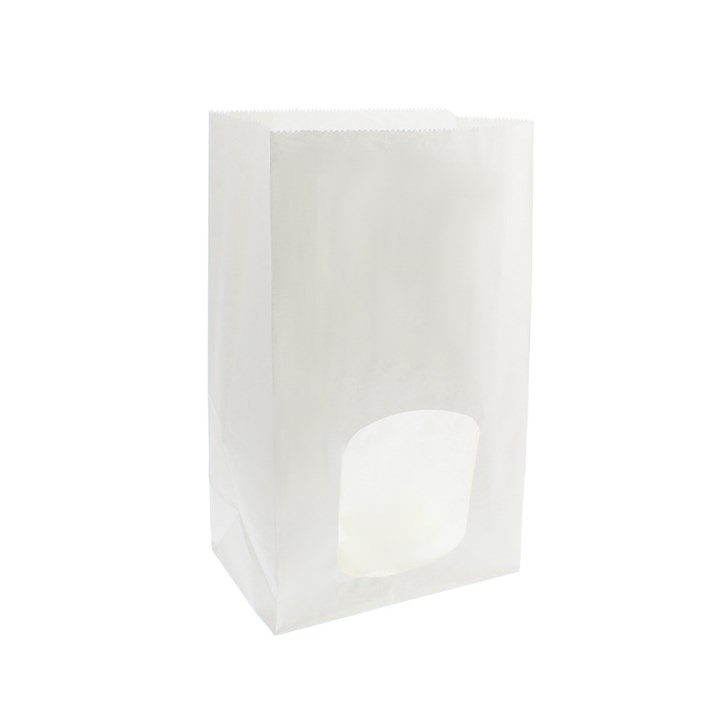 WHITE KRAFT PAPER BAG WITH WINDOW 6 X 4 X 10 INCH