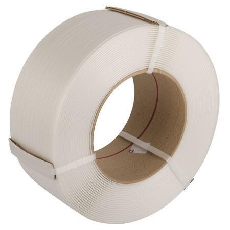 12MM X 3000M WHITE POLYPROPYLENE MACHINE STRAPPING 135KG BREAKING STRAIN (CARDBOARD CORE)