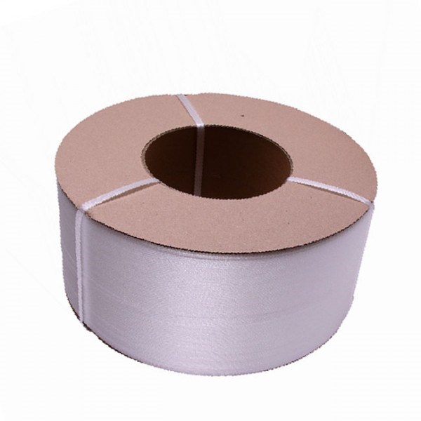 WHITE POLYPROPYLENE MACHINE STRAPPING (CARDBOARD CORE)