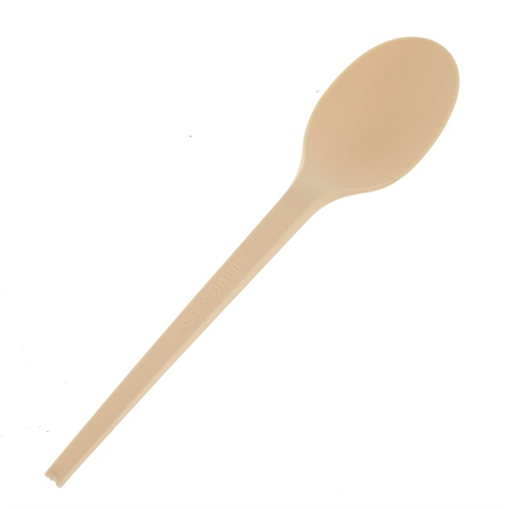 NATURESSE BEIGE CPLA COMPOSTABLE DISPOSABLE SPOONS