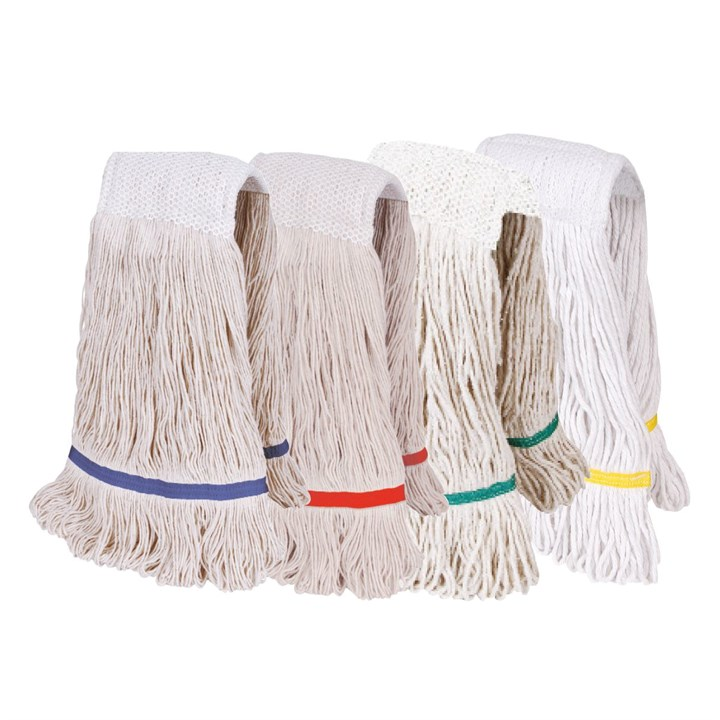 TWINE COLOURED SCRATCHBACK STAYFLAT KENTUCKY MOP 450G WHITE