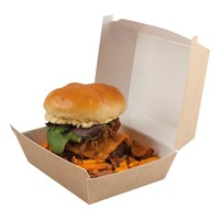 BROWN PAPER CLAMSHELL BURGER BOXES LARGE