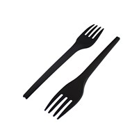 LEAF CPLA COMPOSTABLE DISPOSABLE FORK BLACK