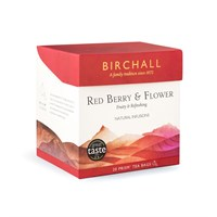 RED BERRY  FLOWER BIRCHALL 20 ENVELOPED PRISM TEA BAGS